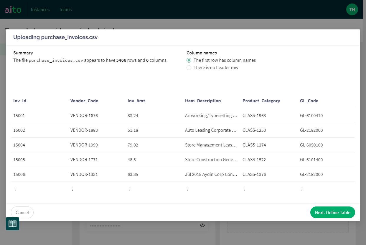 Screenshot: Quick visual validation of the uploaded data