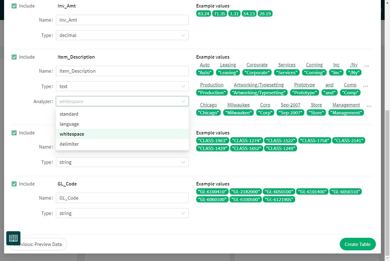 Screenshot: Edit column datatypes