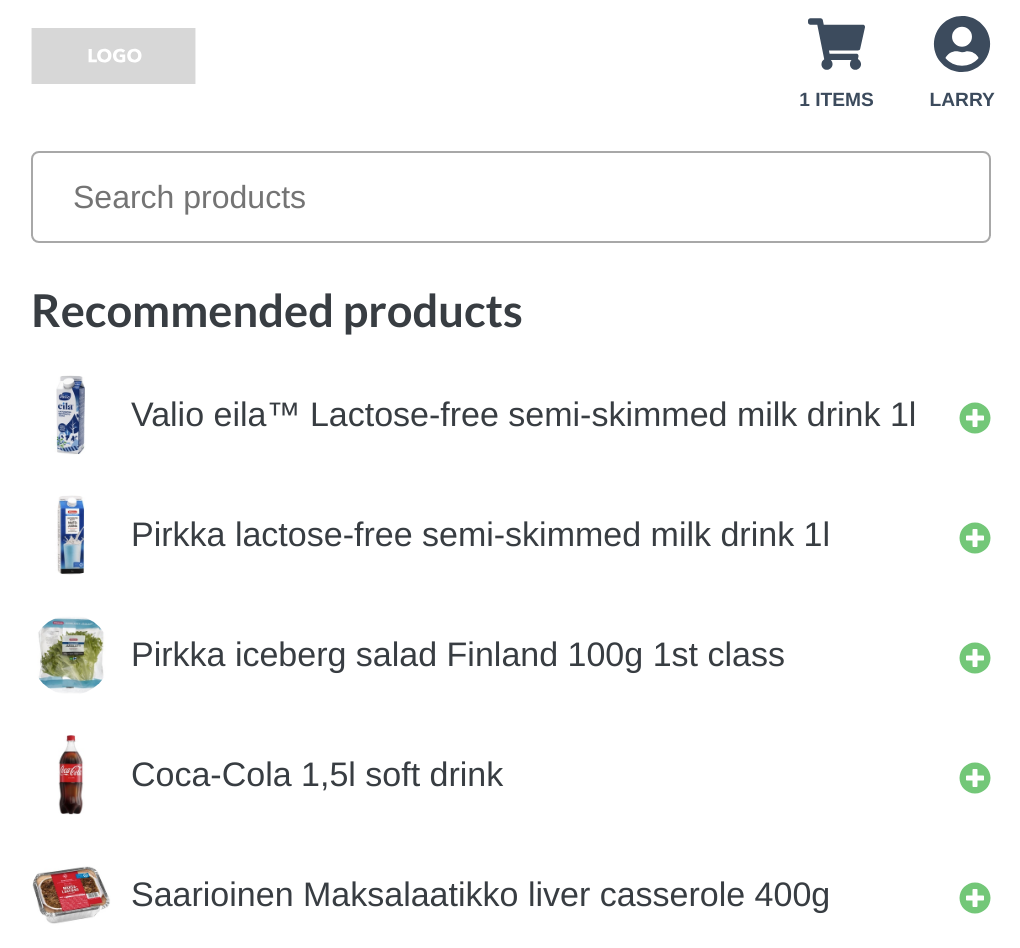 The grocery store demo showing recommendations for Larry. Shopping basket contains one item.